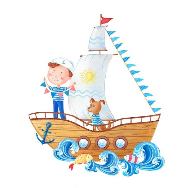 Il piccolo marinaio e il cane sulla nave