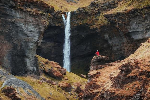 Il pittoresco paesaggio di montagne e cascate dell'islanda. lupino blu selvaggio che fiorisce di estate. turista considerando la bellezza paesaggistica del mondo