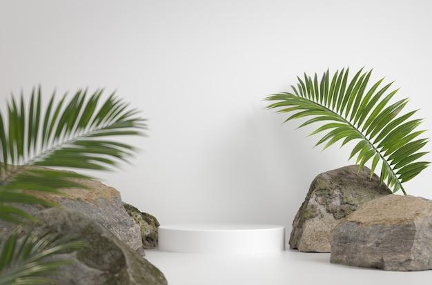 Il podio bianco del modello con il fondo di permesso della palma e della roccia 3d rende