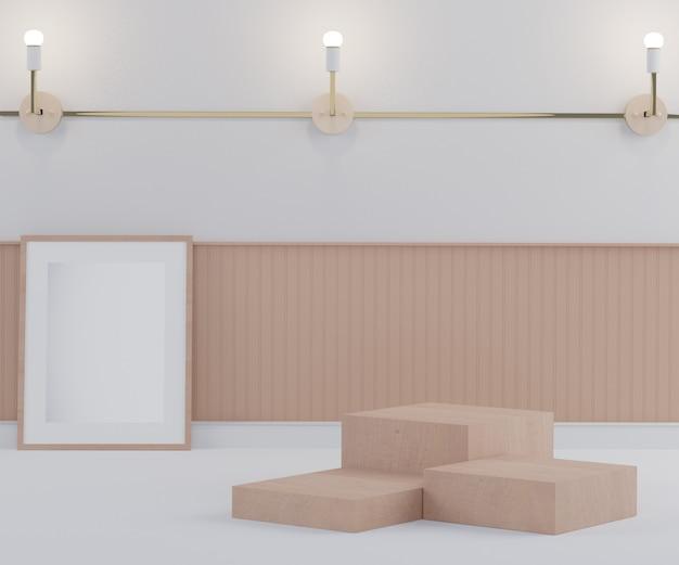 Il podio della fase della sfilata di moda 3d decora con la lampada e la parete. scena vuota per spettacolo di prodotti.