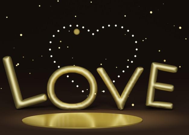 Il podio di lusso con decora con la luce del bokeh del chiarore del cuore e l'aerostato dorato di alfabeti di amore. felice san valentino. concetto di celebrazione dell'amore.