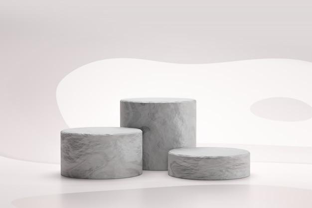 Il podio di pietra o il podio della roccia stanno su fondo bianco astratto con il concetto di marmo. piedistallo del display del prodotto per il design. rendering 3d.
