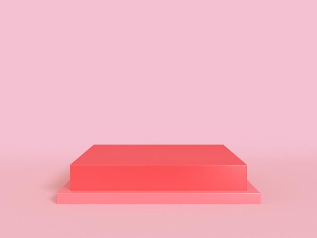 Il podio in bianco minimo 3d del quadrato rosso rende