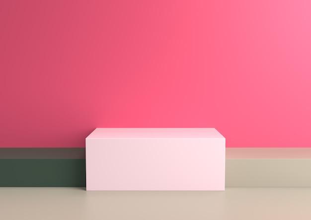 Il podio in composizione astratta nelle gamme di tavolozza del naturalista, 3d rende.