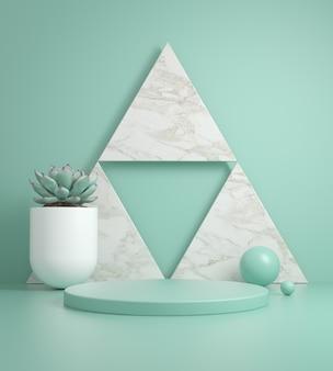 Il podio minimo del modello sul triangolo di marmo e sul fondo della menta 3d rendono