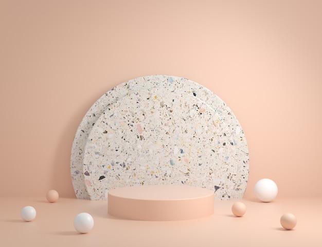 Il podio moderno minimo con il fondo di marmo di terrazzo 3d rende