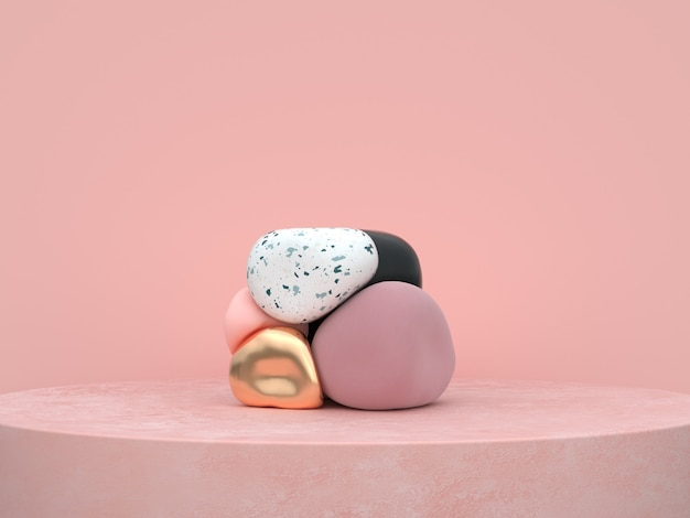 Il podio organico astratto di forma rosa del fondo ha messo la rappresentazione 3d