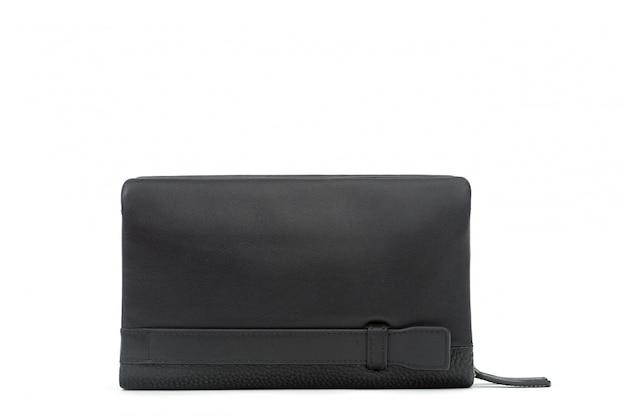 Il portafoglio di cuoio nero degli uomini isolato su bianco