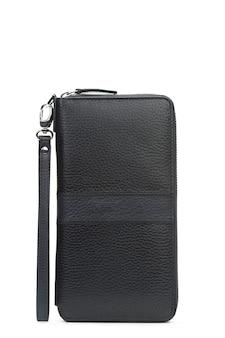 Il portafoglio di cuoio nero degli uomini isolato su fondo bianco