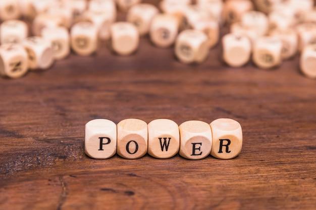 Il potere del testo scritto su di legno taglia sopra lo scrittorio marrone