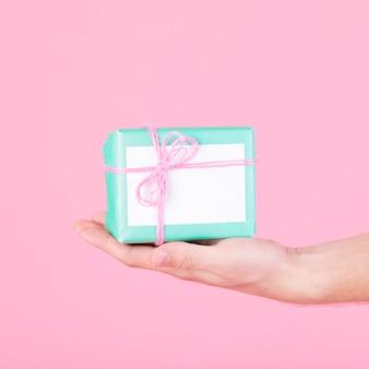 Il primo piano di una tenuta della mano ha avvolto il contenitore di regalo del turchese contro fondo rosa