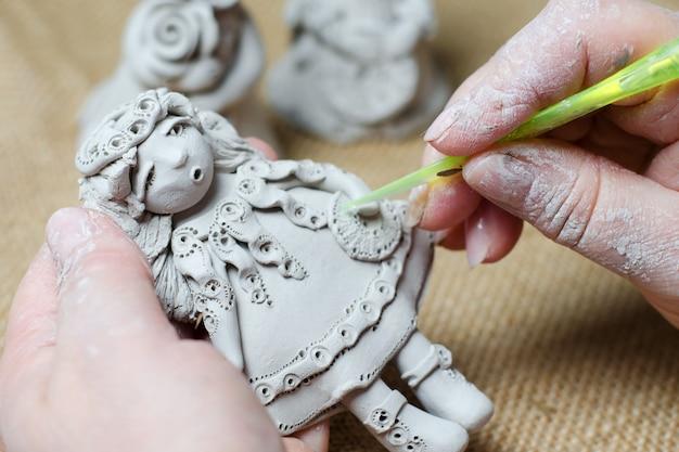 Il processo di creazione di una bambola souvenir fatta di argilla.