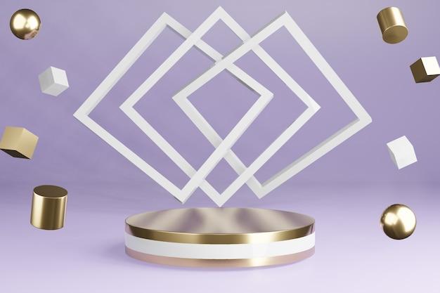 Il prodotto bianco e dorato sta su viola con decorazioni, podio a piedistallo, rendering 3d.