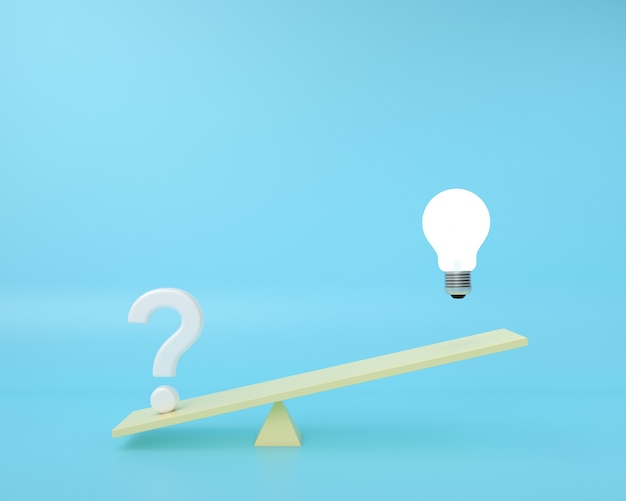 Il punto interrogativo è su una tavola di equilibrio con la lampadina che galleggia su un blu. concetto di idea creativa minima.