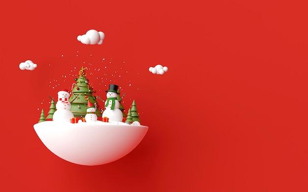 Il pupazzo di neve celebra con i regali di natale su una priorità bassa rossa, la rappresentazione 3d