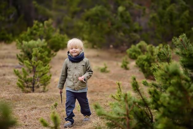 Il ragazzino sveglio cammina in parco nazionale svizzero sulla molla. escursionismo con bambini piccoli.