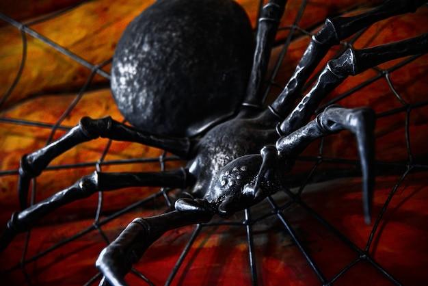 Il ragno spaventoso del ferro striscia su una parete con sangue