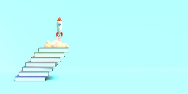 Il razzo giocattolo decolla dai libri che vomitano fumo su uno sfondo blu