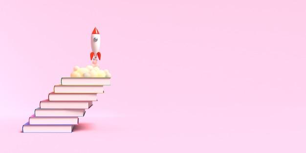 Il razzo giocattolo decolla dai libri che vomitano fumo su uno sfondo rosa