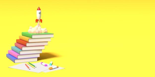 Il razzo giocattolo decolla dai libri vomitando fumo. rendering 3d.