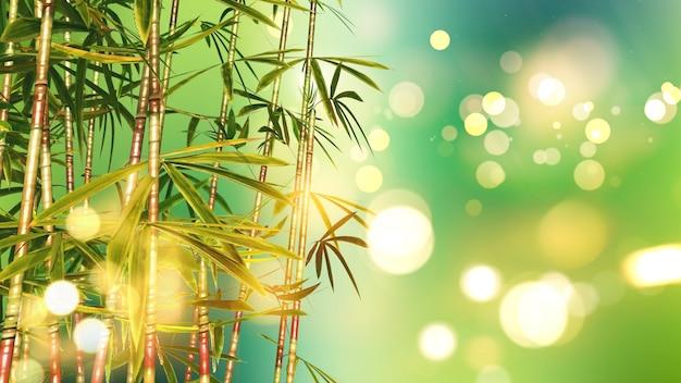 Il rendering 3d di bambù su uno sfondo bokeh luci