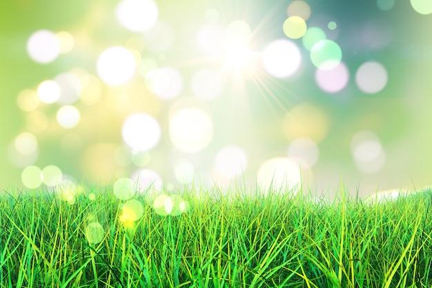 Il rendering 3d di erba verde su uno sfondo bokeh luci