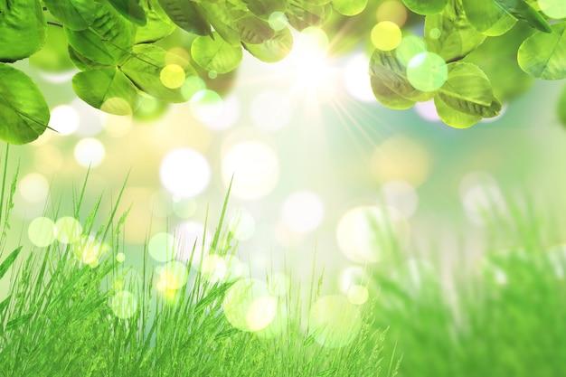 Il rendering 3d di foglie verdi ed erba su uno sfondo bokeh luci