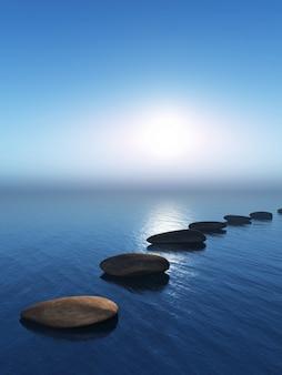 Il rendering 3d di pietre miliari nel mare