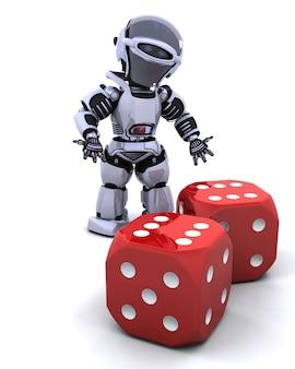 Il rendering 3d di robot rotolare dadi da casinò