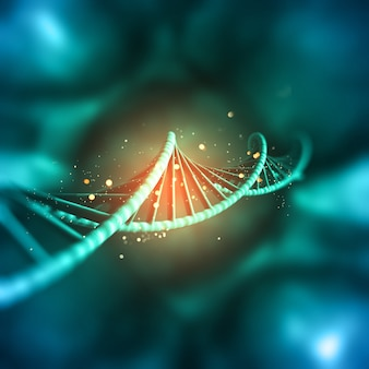 Il rendering 3d di un background medico con filamento di dna