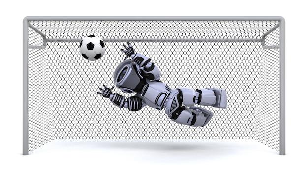 Il rendering 3d di un calcio di robot gioco