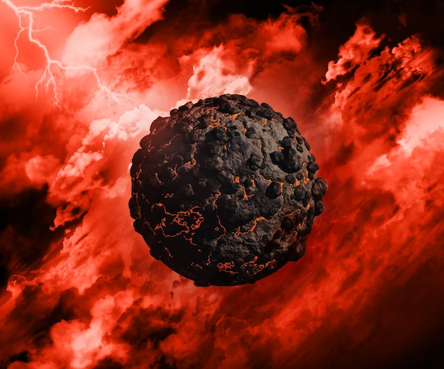 Il rendering 3d di un globo di origine vulcanica con in un cielo tempestoso con alleggerimento