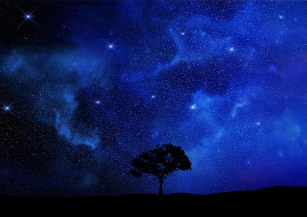 Il rendering 3d di un paesaggio albero si staglia contro un cielo notturno