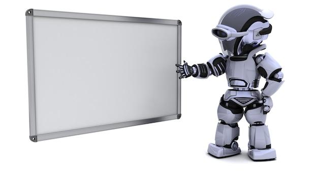 Il rendering 3d di un robot con la scheda bianca in bianco