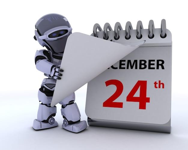 Il rendering 3d di un robot con un calendario