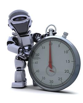 Il rendering 3d di un robot con un cronometro cromo tradizionale