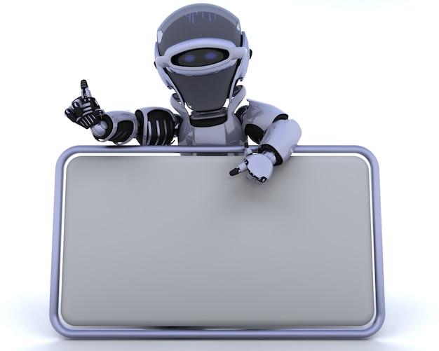 Il rendering 3d di un robot e segno in bianco