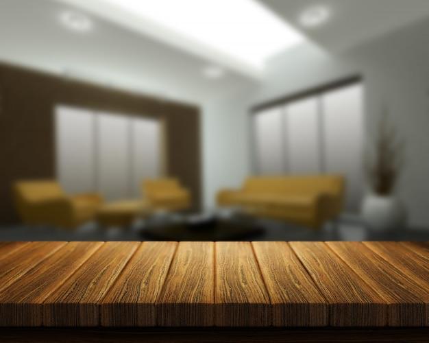 Il rendering 3d di un tavolo di legno con interni stanza in background