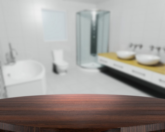 Il rendering 3d di un tavolo di legno con un bagno contemporaneo defocussed in background