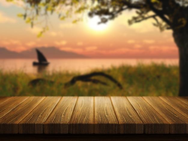 Il rendering 3d di un tavolo di legno con un'immagine defocussed di una barca su un lago