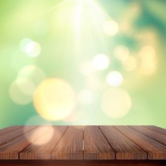 Il rendering 3d di un tavolo di legno su uno sfondo defocussed