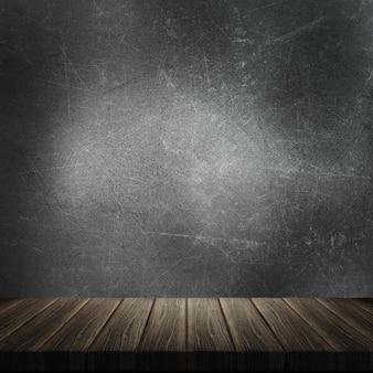 Il rendering 3d di un tavolo di legno su uno sfondo grunge metal