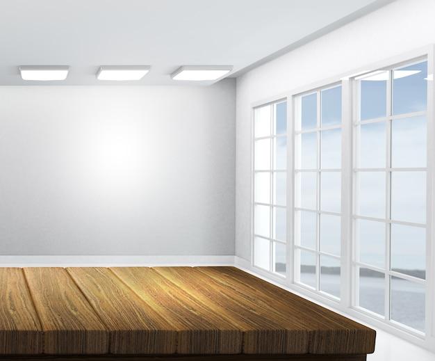 Il rendering 3d di un tavolo in legno con camera bianca vuota in background