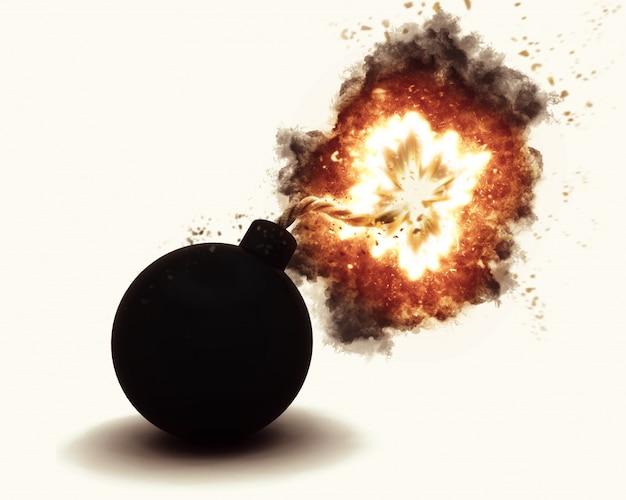 Il rendering 3d di una bomba che esplode