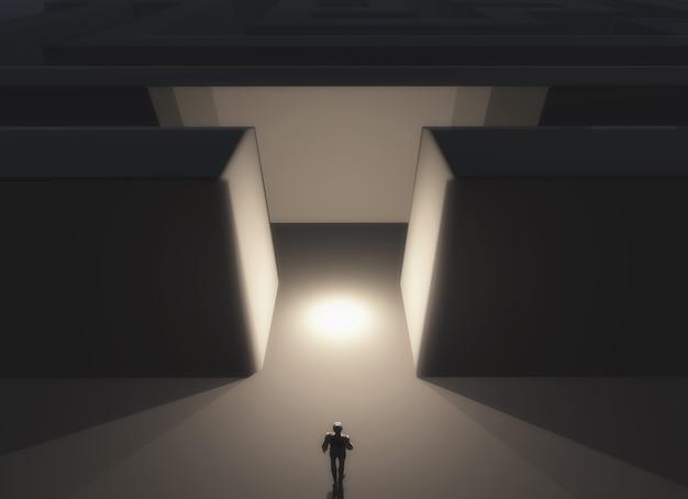Il rendering 3d di una figura maschile in piedi di fronte a un labirinto