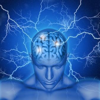 Il rendering 3D di una testa maschile e cervello con fulmini