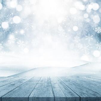 Il rendering 3d di uno sfondo di natale con tavolo in legno che guarda ad una scena nevoso