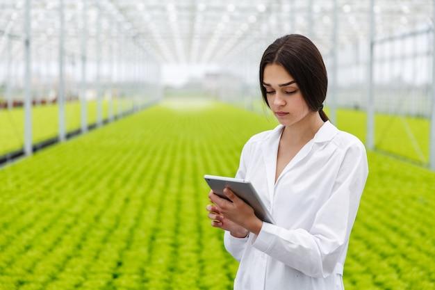 Il ricercatore femminile tiene una compressa che studia le piante nel greeenhouse