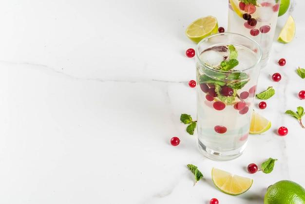 Il rinfresco dell'inverno e dell'autunno beve il cocktail di mojito del mirtillo rosso con calce e la menta sulla tavola bianca