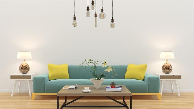 Il salone 3d interno rende il modello di legno della parete del pavimento di legno della tavola del sofà